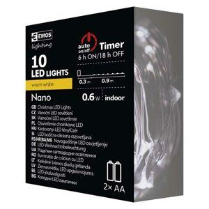 Emos LED vánoční nano řetěz měděný,0,9m, 2× AA, Teplá bílá b., časovač ZY2195