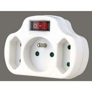 Emos Rozbočovací zásuvka 2× plochá + 1× kulatá s vypínačem, bílá P0029