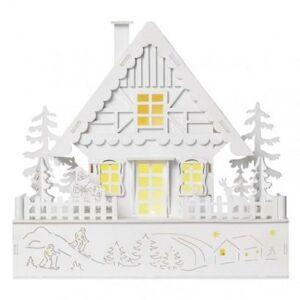 Emos LED vánoční domek dřevěný, 28 cm, 2x AA, vnitřní, teplá bílá, časovač DCWW06