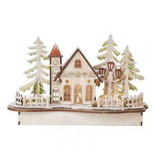 Emos LED dekorace dřevěná – zasněžený kostel, 15 cm, 2x AA, vnitřní, teplá bílá, časovač DCWW20