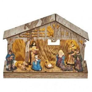 Emos LED vánoční betlém dřevěný, 19 cm, 3x AA, vnitřní, teplá bílá, časovač DCWW14