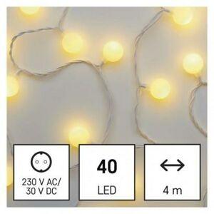Emos LED světelný cherry řetěz – kuličky 2,5 cm, 4 m, venkovní i vnitřní, teplá bílá, časovač D5AW01