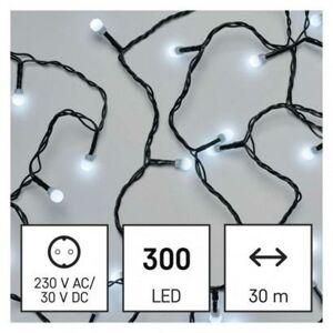 Emos LED vánoční cherry řetěz – kuličky, 30 m, venkovní i vnitřní, studená bílá, časovač D5AC04