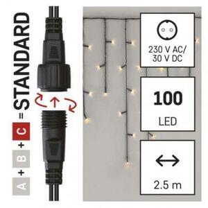 Emos Standard LED spojovací vánoční řetěz – rampouchy, 2,5 m, venkovní, teplá bílá, časovač D1CW01
