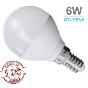 LED21 LED žárovka 6W 12xSMD2835 480lm E14 Studená bílá