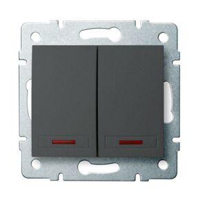 Kanlux 24893 DOMO Dvojité tlačítko s LED - grafit