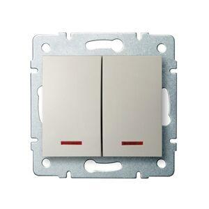 Kanlux 25130 LOGI Dvojité tlačítko s LED krémová