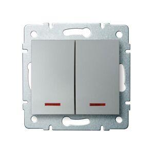Kanlux 25189 LOGI Dvojité tlačítko s LED - stříbrná