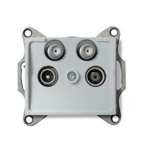 Kanlux 25223 LOGI Zásuvka dvojitá 2x SAT-TV-R koncová - stříbrná