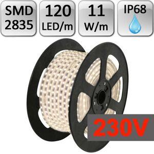 LED21 LED pásek 230V 120ks 2835 11W/m 1m silikon STUDENÁ BÍLÁ