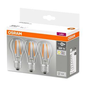 3PAK LED žárovka LED E27 A60 6,5W = 60W 806lm 2700K Teplá bílá 360° OSRAM OSRLED4605