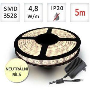 LED21 SADA LED pásek 5m 4,8W/m 60ks/m 2835 Neutrální bílá + Zdroj